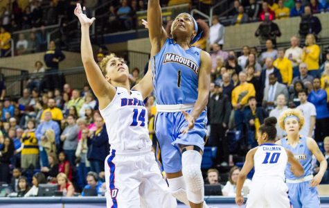 Point guard Danielle King goes up for a shot against DePaul in last year's BIG EAST title game.