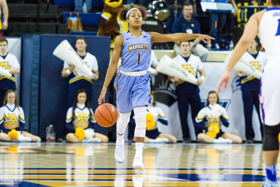Point+guard+Danielle+King+%22got+the+game+ball%22+in+Marquette%27s+victory+against+DePaul%2C+according+to+head+coach+Carolyn+Kieger.