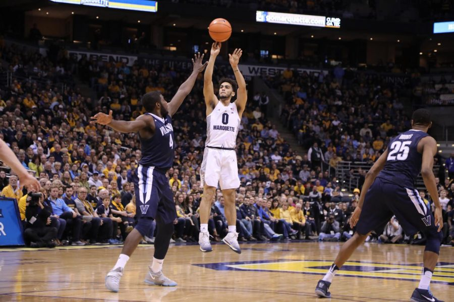 Sophomore Markus Howard lets it fly from beyond the 3-point line.