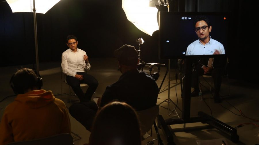Nobel Peace Prize nominee Wael Ghonim is filmed and interviewed by students for a project. Photo courtesy of Joseph Brown.