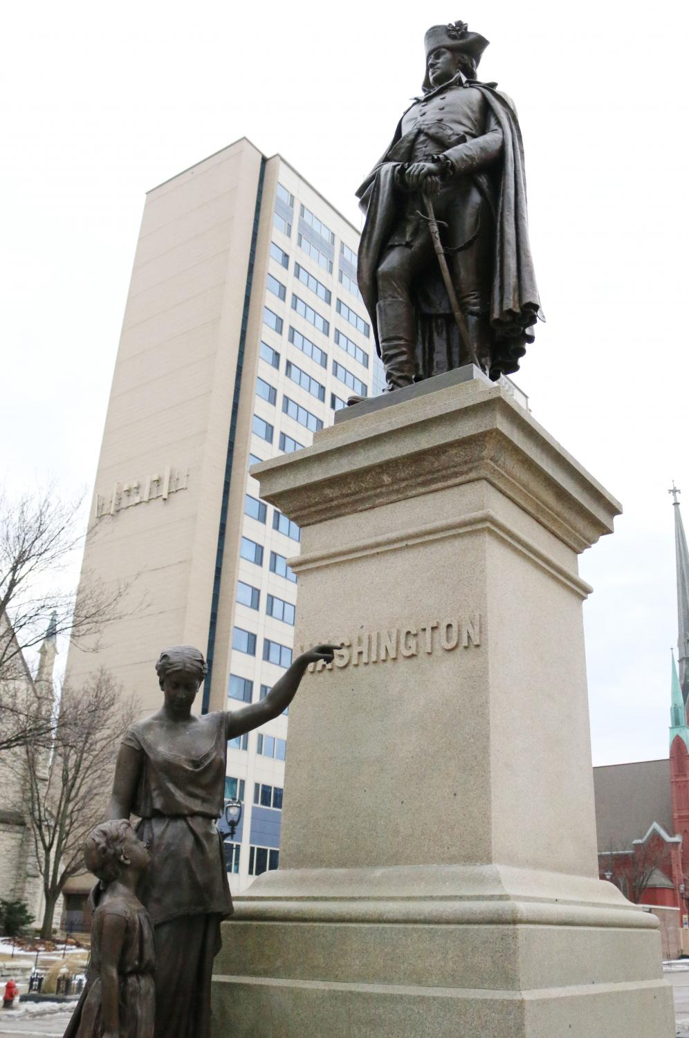 After undergoing refurbishment, the George Washington statue returned to its home in front of Straz Tower Jan. 11.