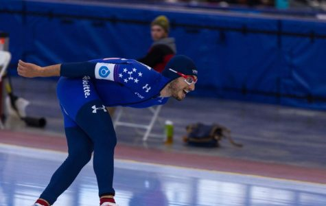 Emery Lehman skates at the latest International Skating Union World Cup in Salt Lake City. Lehman achieved his personal best in the 5K race (photo courtesy: Emery Lehman).
