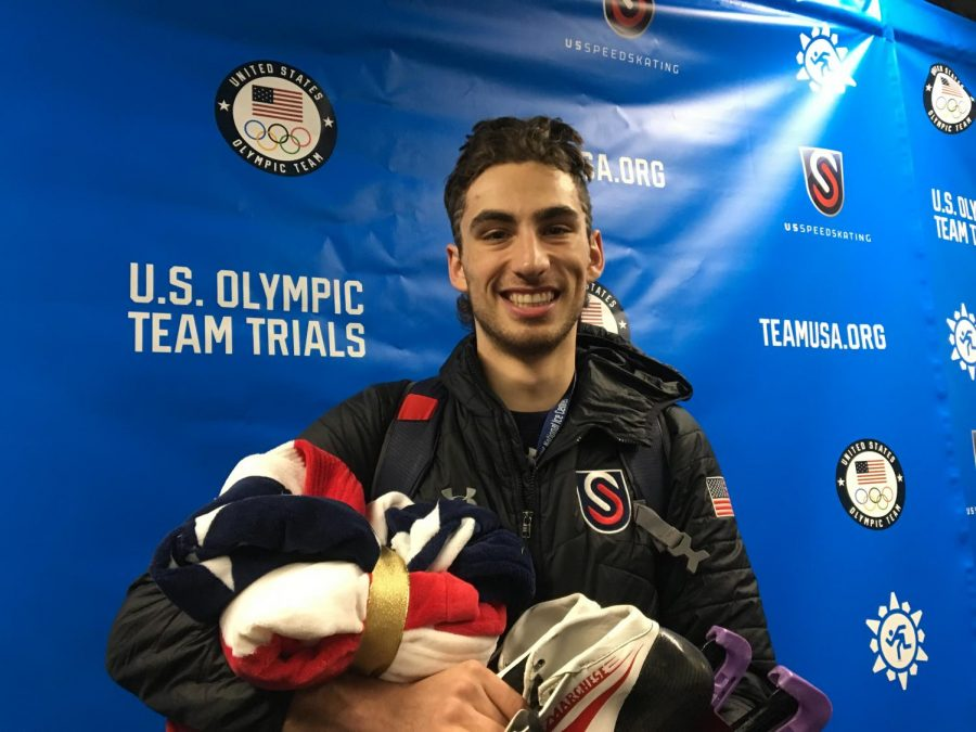 Emery Lehman smiled for a photo after he made the U.S. Olympic Team as a Team Pursuit Specialist. It will be Lehman's second appearance in the Olympics. He is a junior in the College of Engineering (Photo by Brendan Ploen).