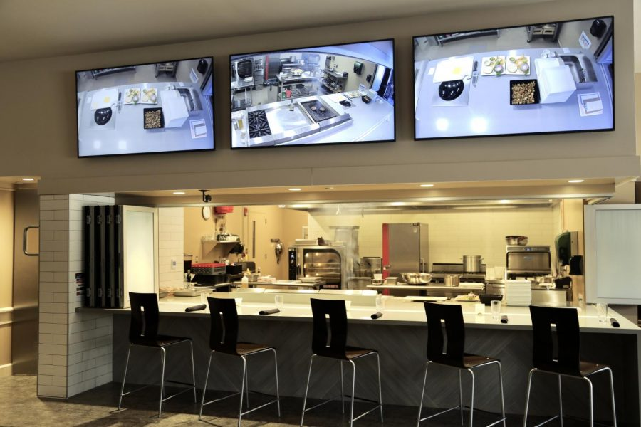The+Innovation+Kitchen+features+55-inch+TVs+to+display+the+chef%27s+creations+to+onlookers.