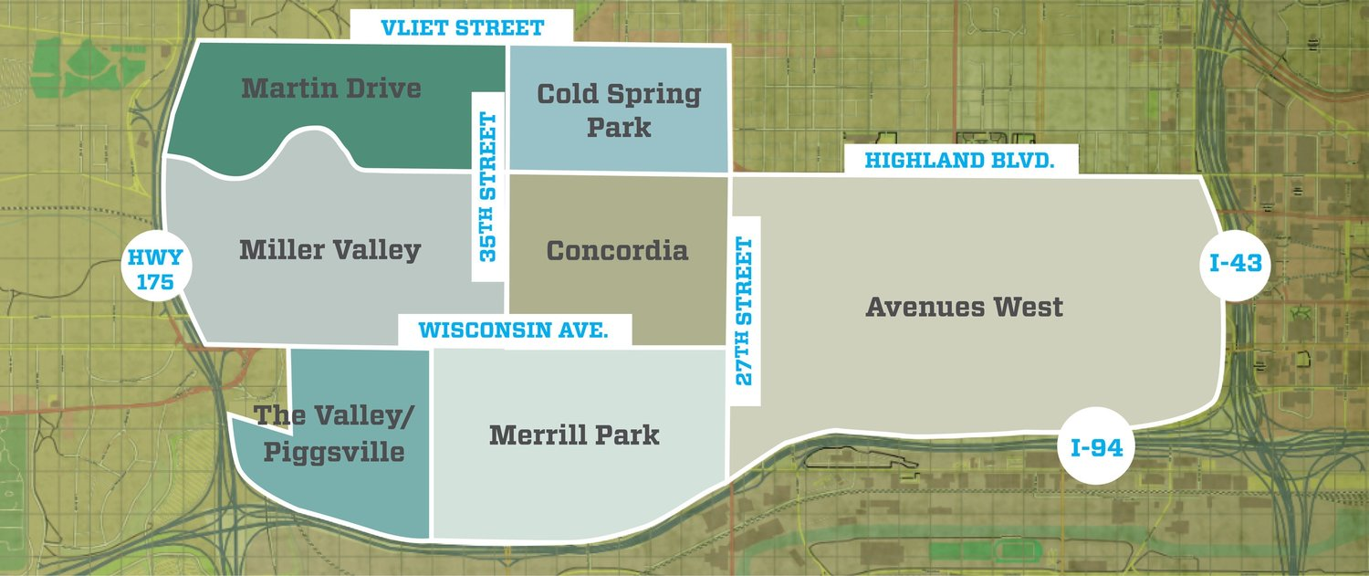 A map of the Near West Side neighborhood boundaries. Courtesy of http://nearwestsidemke.org