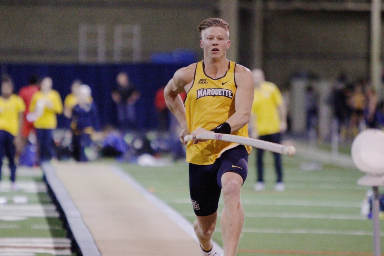 Joel Swanberg prepares to jump in the pole vault at the John Tierney Invitational at UW-Milwaukee (photo courtesy of Marquette Track and Field).
