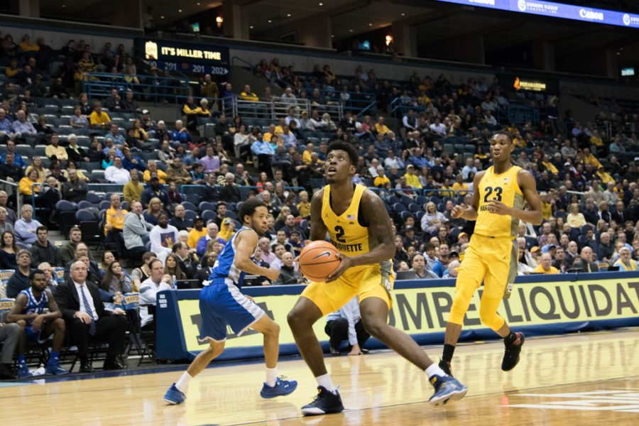 Sacar Anim and the rest of Marquette's frontcourt offense struggled Friday night, as they were outscored 60-28 in the paint.