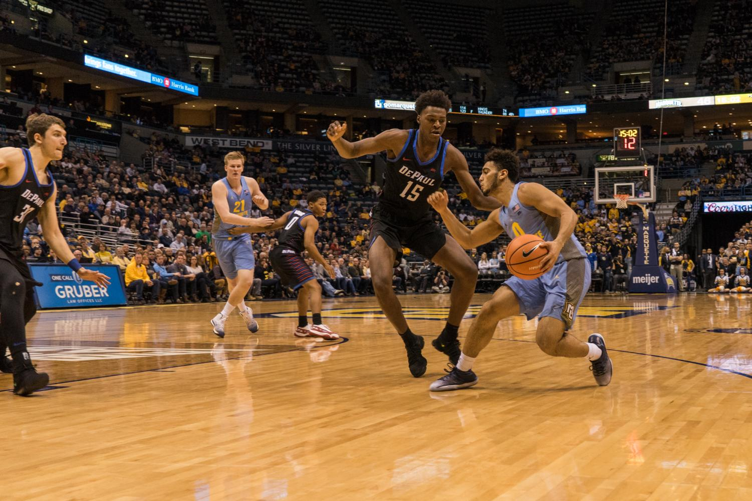 Markus Howard attempts a shot against DePaul. The Golden Eagles fell on the road to No.8 Xavier Wednesday night (Photo by: Jordan Johnson).