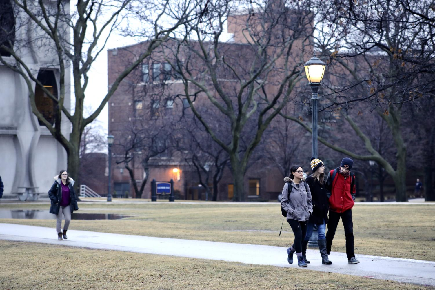 Students leave Lalumiere without exposing their hands to the cold air.