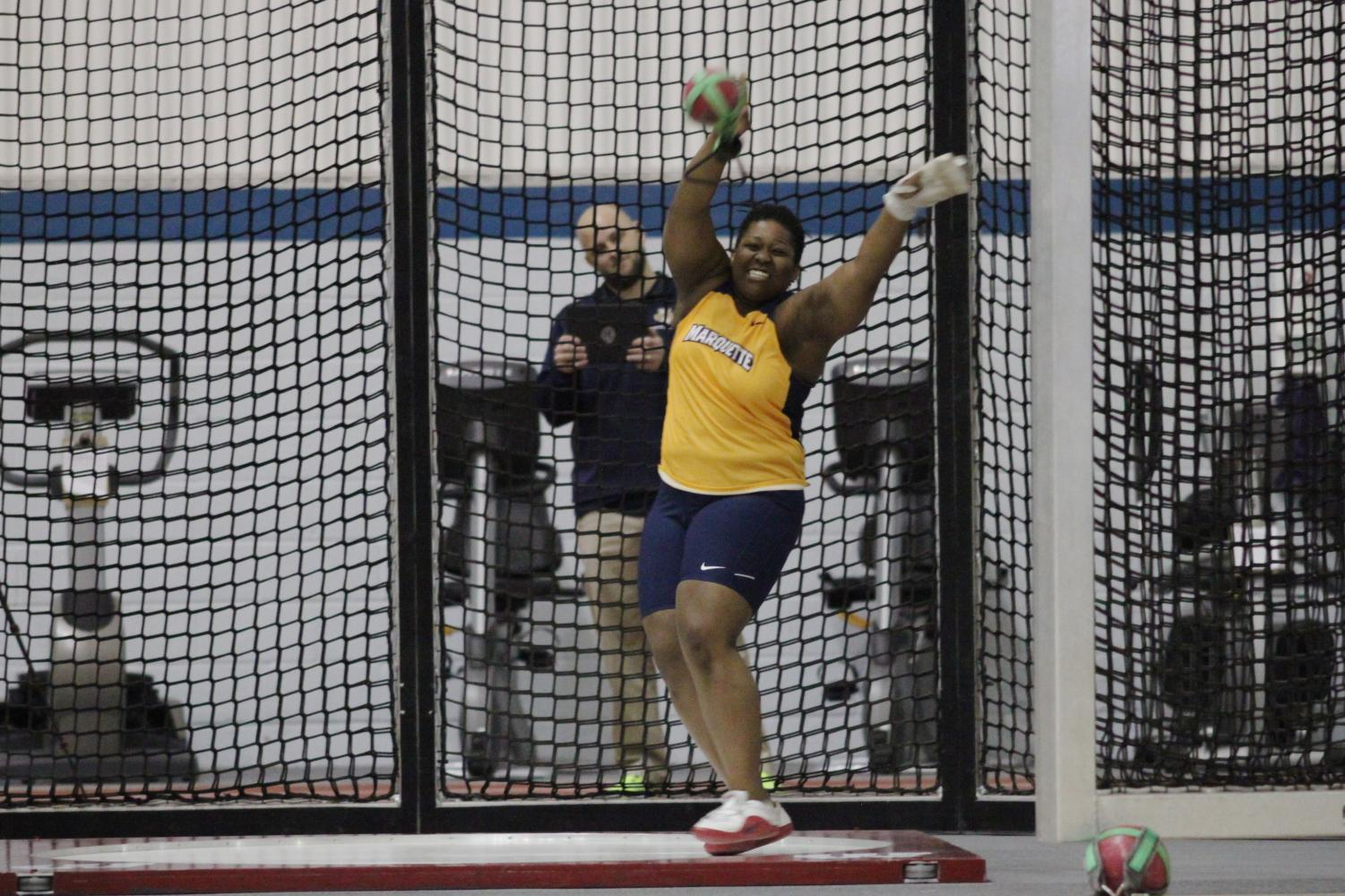 Senior thrower Maya Marion is going for her fourth BIG EAST outdoor shot put title. (Photo by Maggie Bean via Marquette Athletics.)
