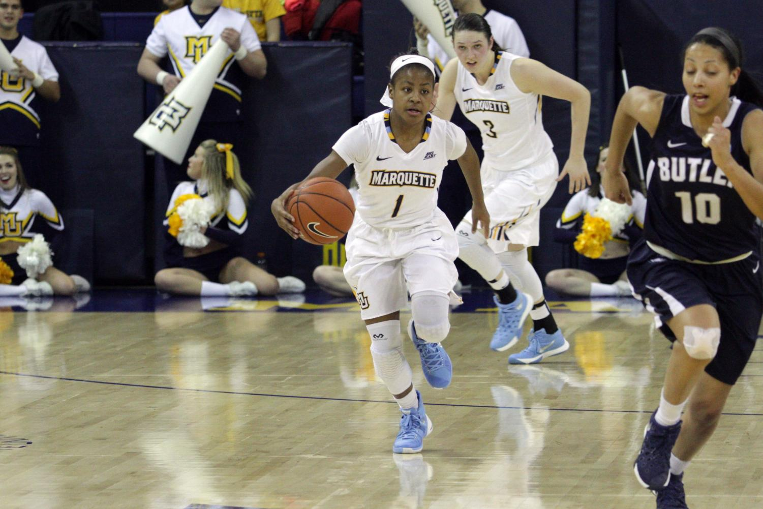 Danielle King scored a season-high 25 points to guide Marquette to a victory over Butler. (Photo by Maggie Bean via Marquette Athletics.)