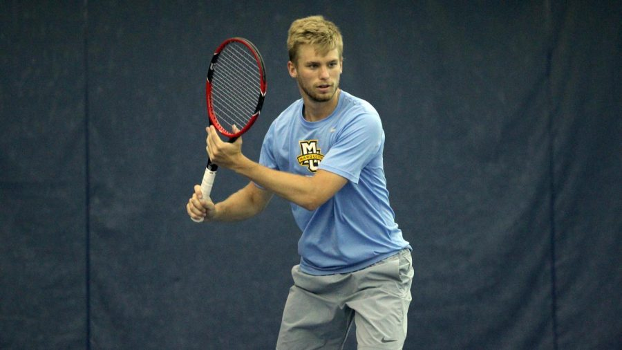 Men%27s+tennis+player+Scott+Christian+has+already+played+as+many+matches+this+year+as+he+did+in+all+of+last+season.+%28Photo+by+Maggie+Bean+via+Marquette+Athletics.%29
