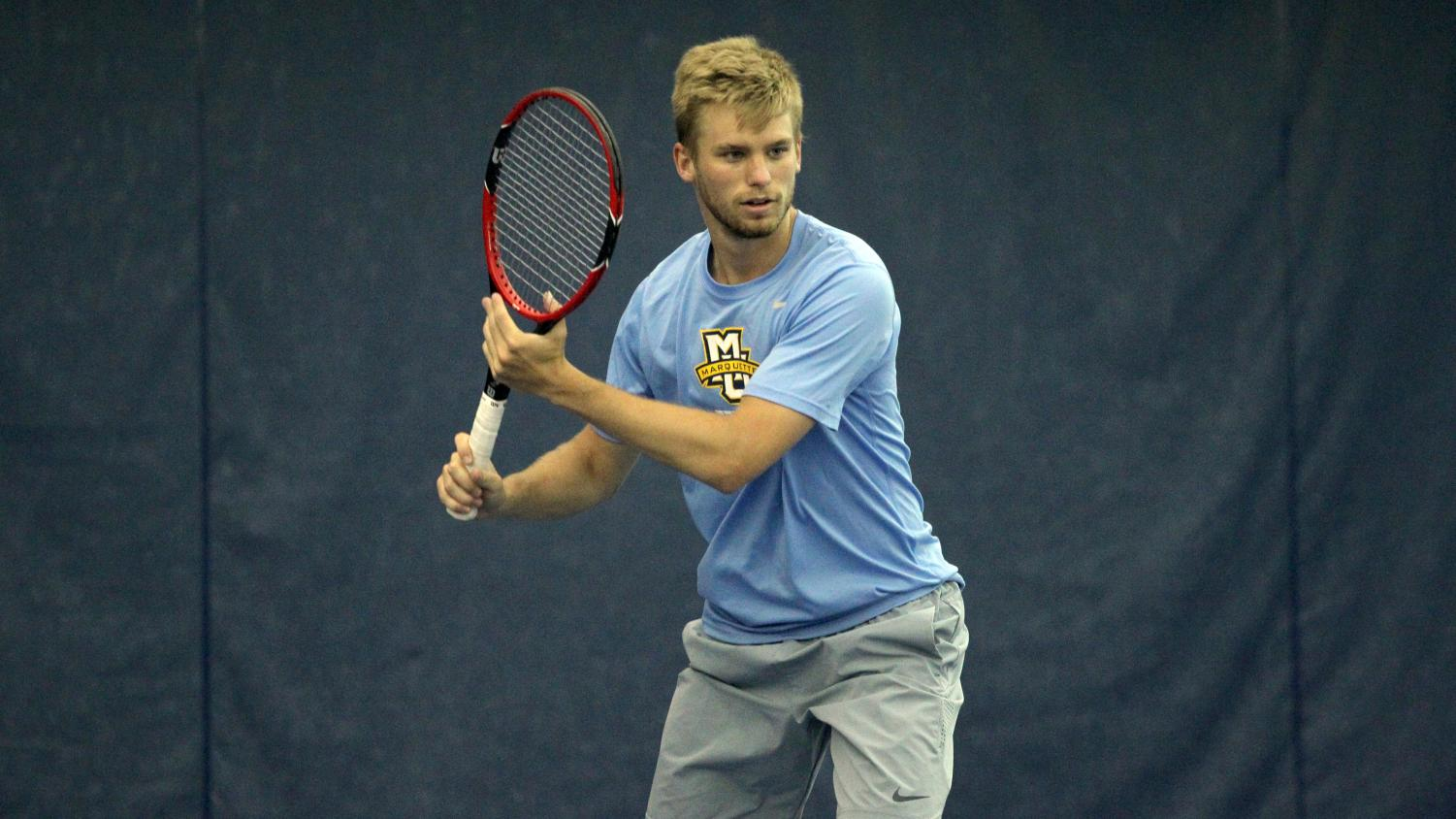 Men's tennis player Scott Christian has already played as many matches this year as he did in all of last season. (Photo by Maggie Bean via Marquette Athletics.)