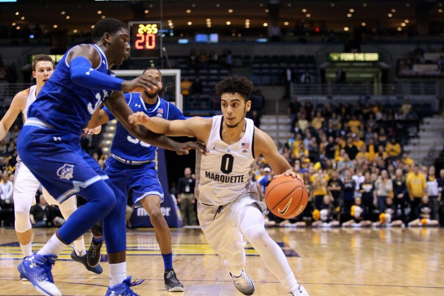 Markus Howard led the team in scoring with 30 points. It's his sixth 30-point game of the season. (Photo by Maggie Bean courtesy of Marquette Athletics.)