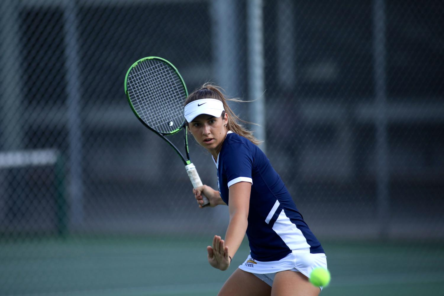 Freshman Natalija Popovic has been competing for the No.1 doubles spot this year (Photo courtesy Marquette Athletics).
