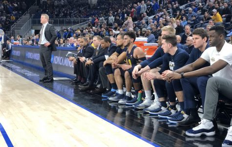 Marquette players looked on from the bench during a 70-62 loss to DePaul Saturday afternoon.