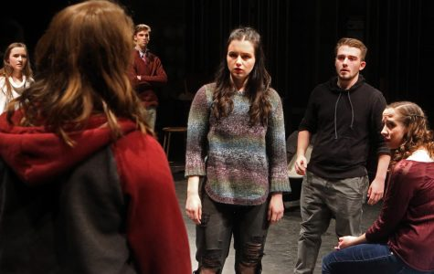 Characters Daisy (Annie Kefalas), Rob (Nicholas Cordonnier), and Maggie (Raven Ringe) debate about what to do with video footage of a sexual assault in Marquette Theatre's 'Student Body.'