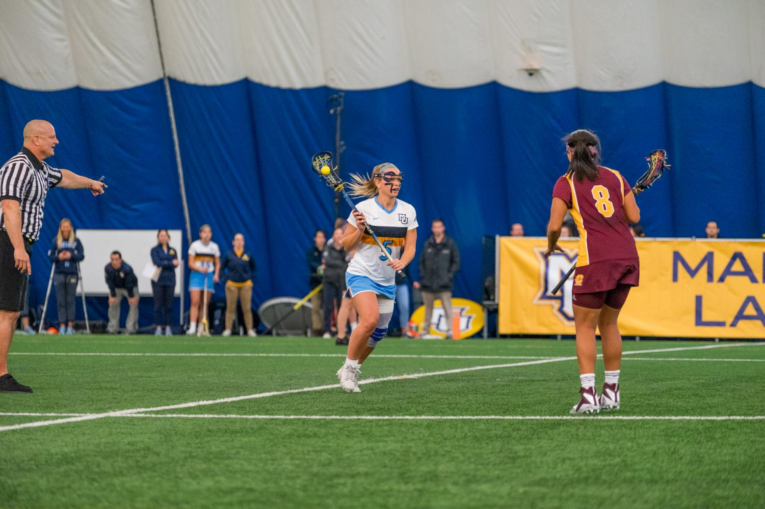 Lindsey Willcocks (right) brings up the ball against Central Michigan. The Golden Eagles went 2-0 this weekend.
