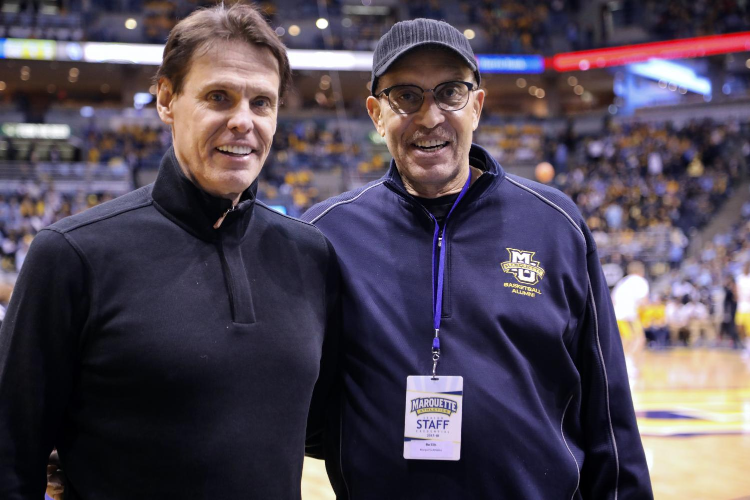 Jim Dudley (left) and Bo Ellis, two players on Marquette's 1977 championship team, pose for a picture.