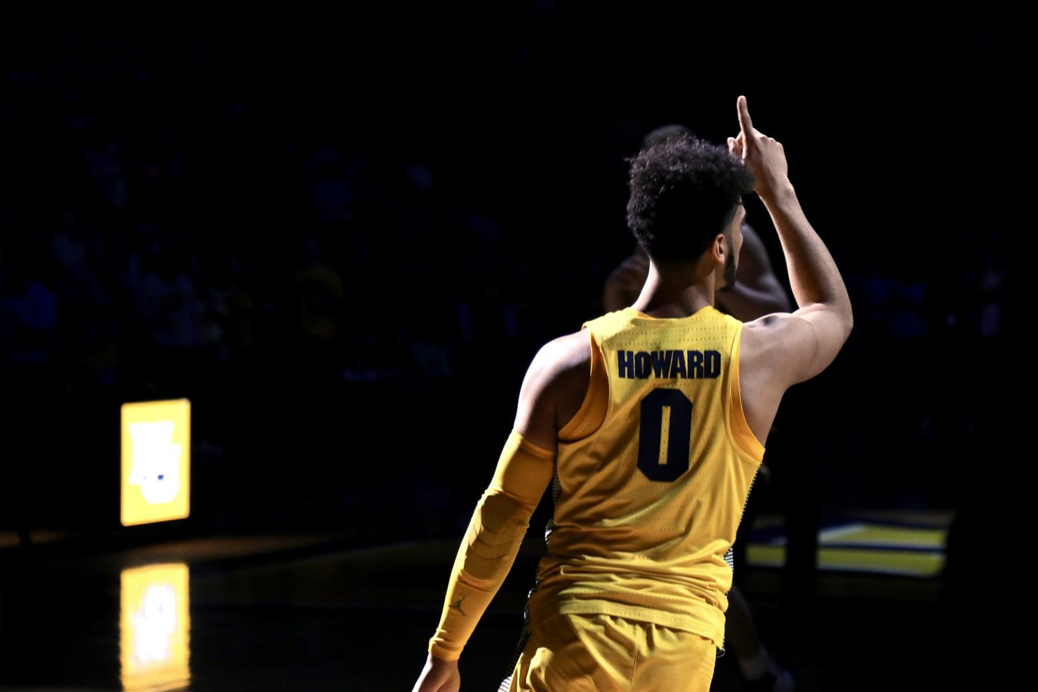 Sophomore Markus Howard enters the court during introductions.