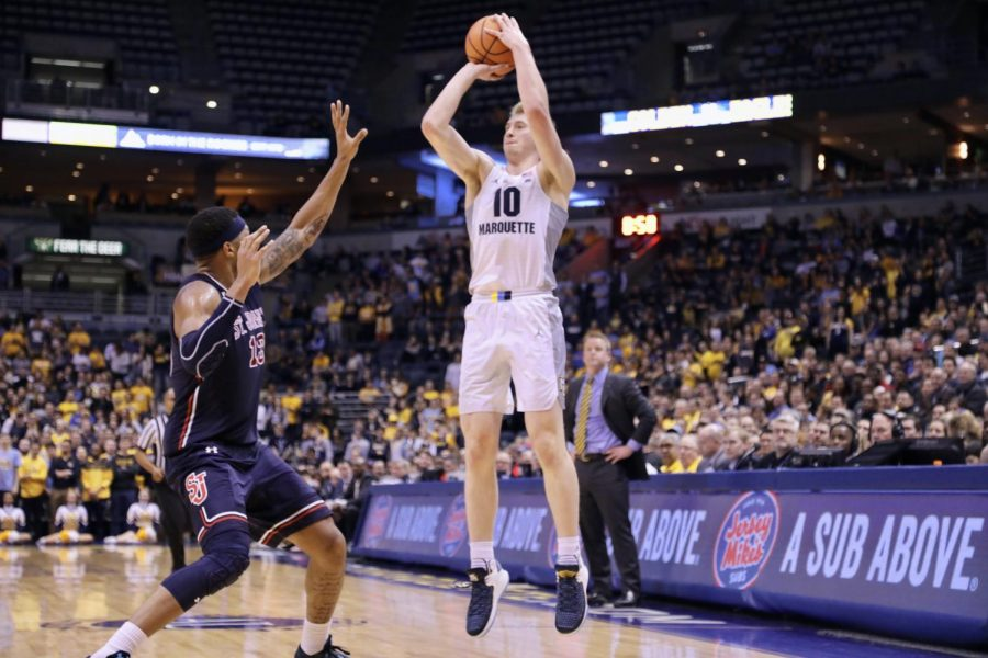 Sophomore Sam Hauser scored 28 points on 7-of-8 3-point shooting.