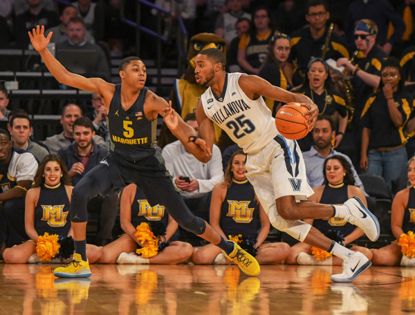Villanova's Mikal Bridges scored 25 points on 7-of-12 shooting against Marquette. (Photo courtesy of Mitchell Layton/Marquette Athletics.)
