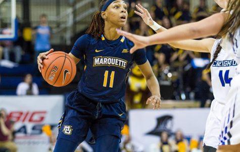 Allazia Blockton scored 32 points and grabbed 11 rebounds in Marquette's semifinal victory over Creighton.