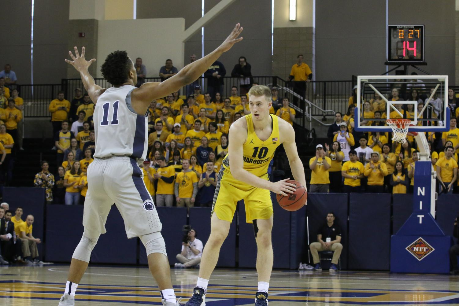 Sophomore forward Sam Hauser scored 13 points in Marquette's NIT loss to Penn State on Tuesday night.