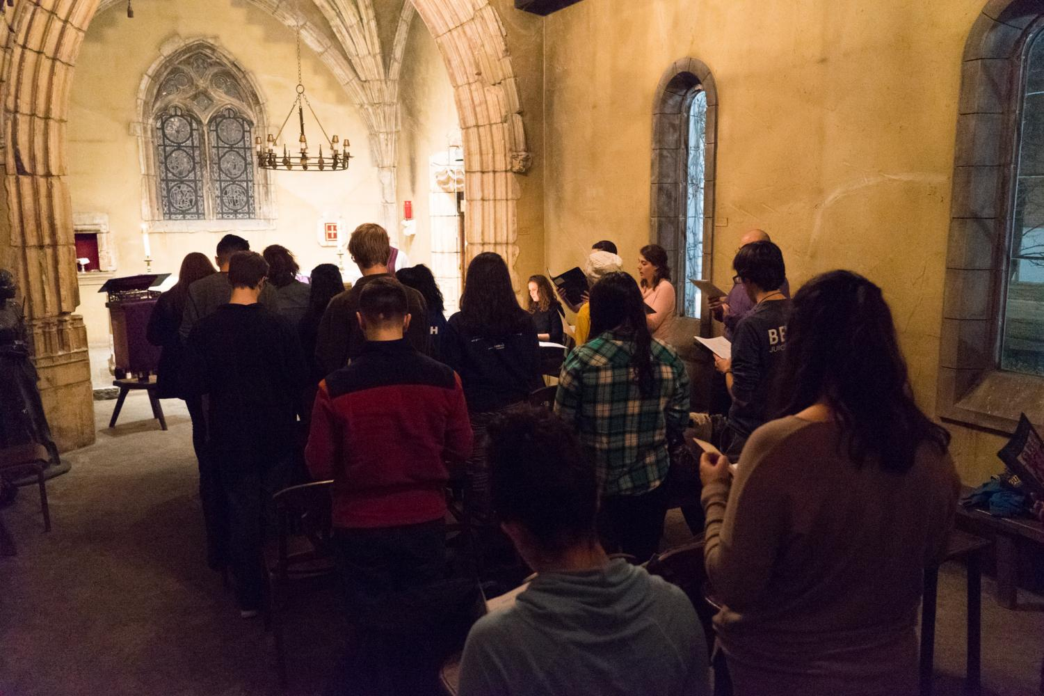 Joan of Arc Chapel provides an intimate mass setting for students on weeknights.