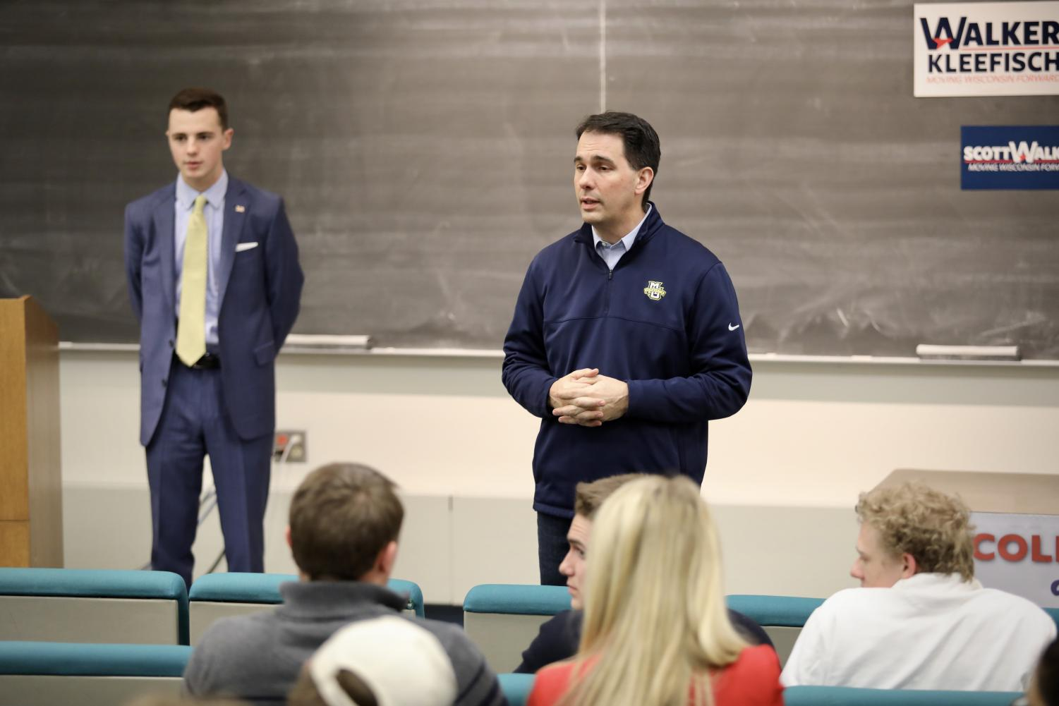 Wisconsin Gov. Scott Walker talks during an event hosted by the College Republicans.