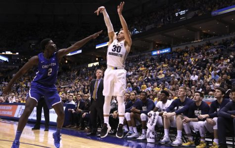 Andrew Rowsey scored 26 points in Marquette's victory over Creighton.