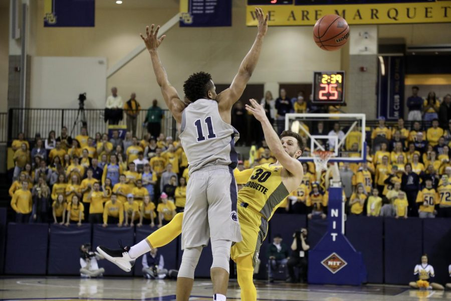 Andrew Rowsey broke Dwyane Wade's single-season scoring record with 715 points. The Golden Eagles lost to Penn State 85-80 in the NIT quarterfinals.