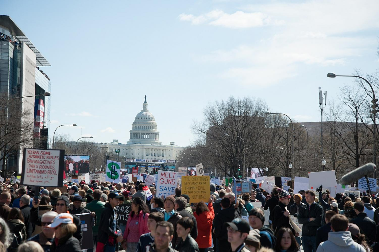 Demonstrators advocate for stricter gun laws and legislation at the 2018 March For Our Lives in Washington DC. Photo via Wikimedia Commons.