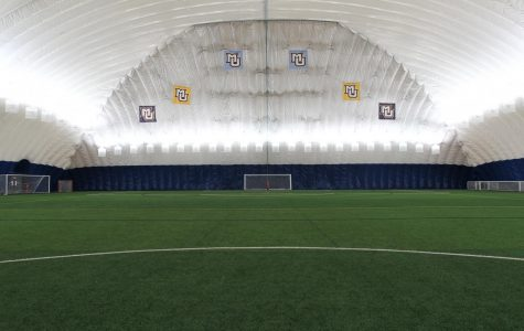 Marquette club teams have been practicing in the Valley Fields dome in lieu of their outdoor spaces because of poor weather. (Photo courtesy of Marquette Athletics.)