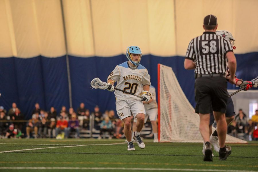 Defender+Nick+Singleton+started+on+Marquette%27s+lacrosse+team+as+a+walk-on+and+has+evolved+into+a+full-time+contributor.
