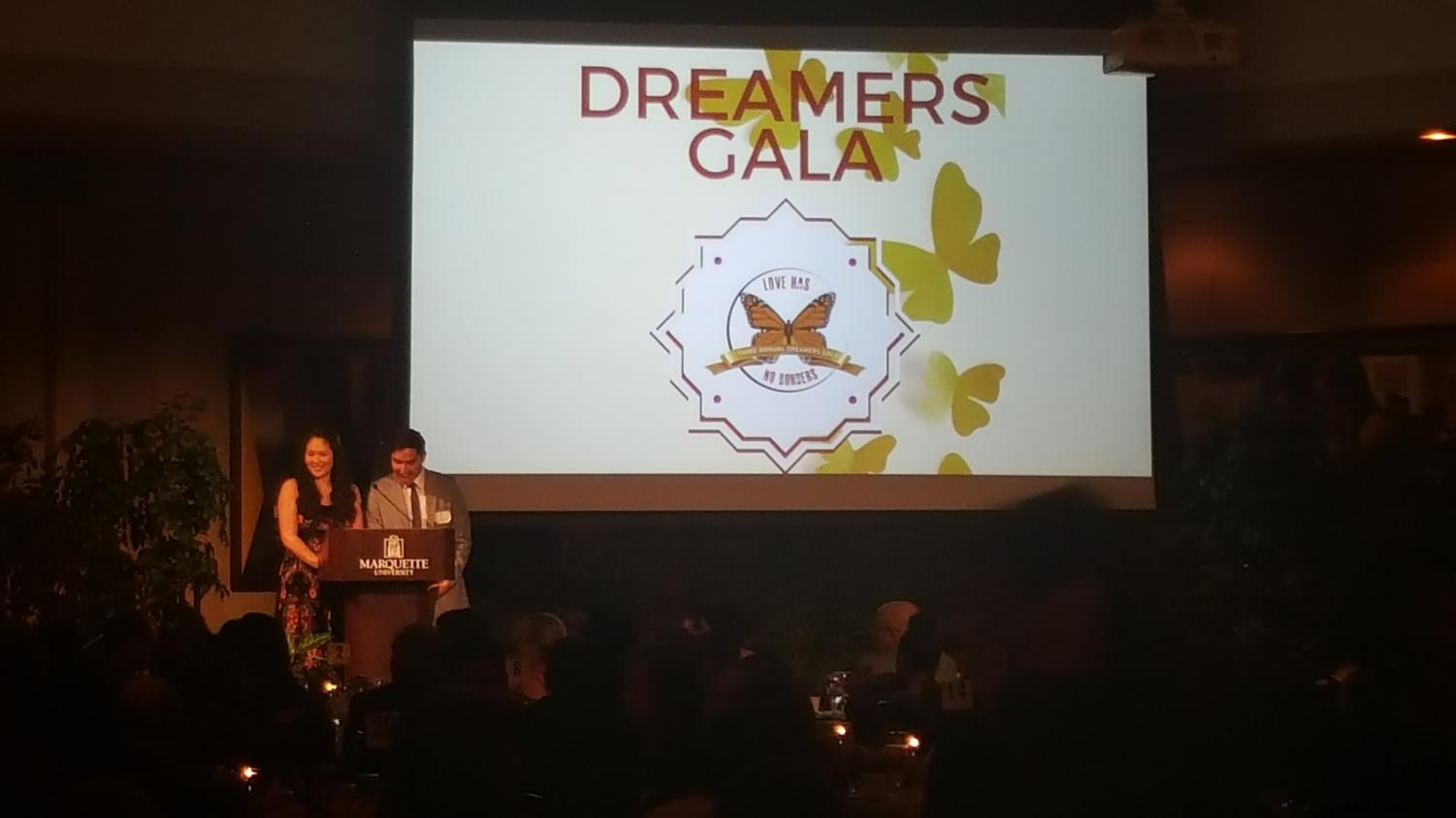 Victoria Gokee and Luis Jimenez speak at the Dreamer's Gala event.