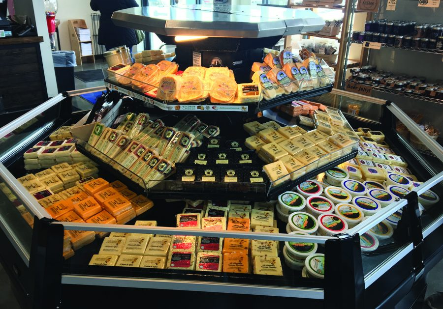 An array of cheeses is displayed inside Clock Shadow Creamery, showing off just some of the many flavors.