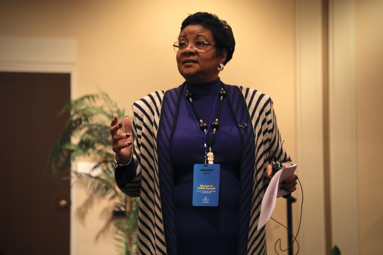Adonica Randall, a Marquette alumna and the College of Engineering entrepreneur-in-residence, speaks at the Women in STEM Summit in the AMU April 23.