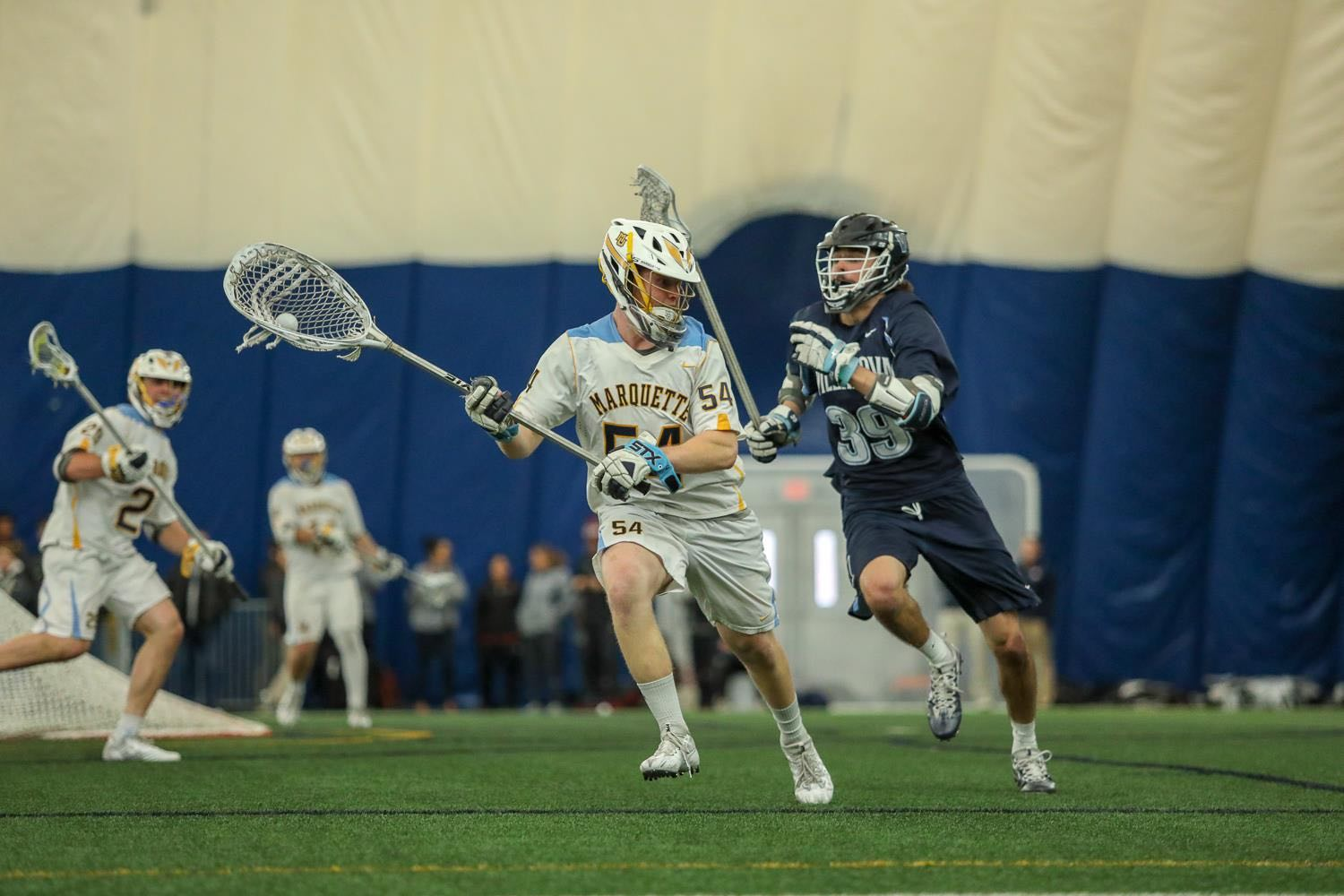 Senior goalie Cole Blazer made 14 saves in a 7-4 loss to Denver last Saturday. Marquette will look to win the BIG EAST Tournament for the third straight season (Photo courtesy: Marquette Athletics).