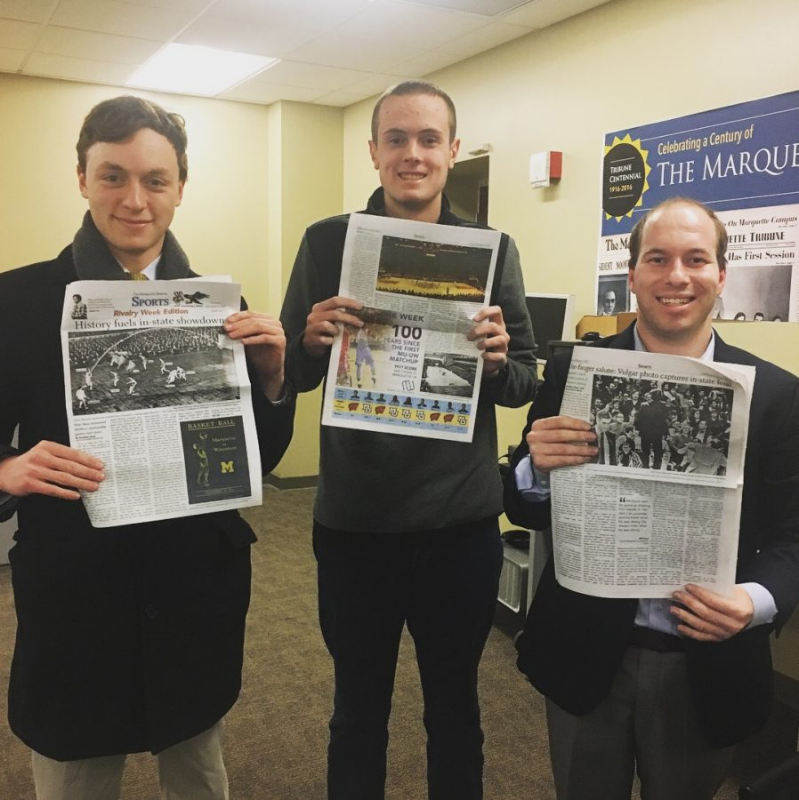 Brendan (right) smiles with John Steppe and Andrew Goldstein after the special edition of the Marquette-Wisconsin rivalry in December.