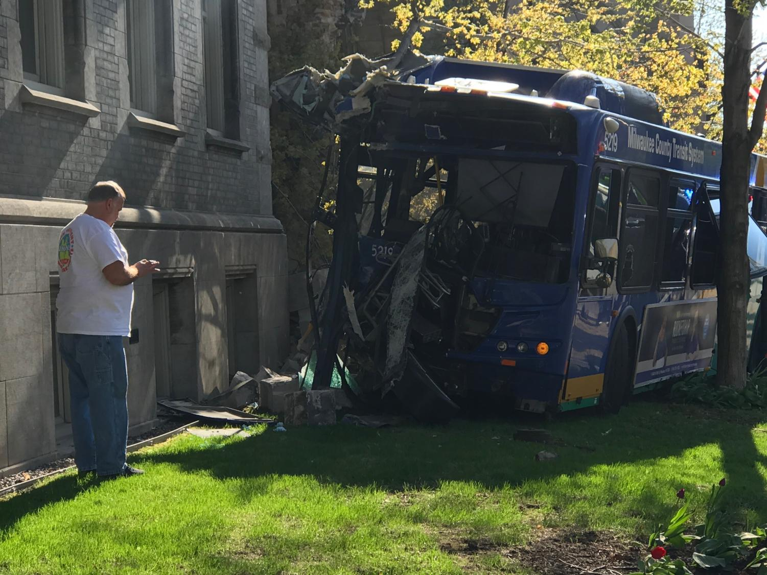 At approximately 5:13 p.m. on Tuesday, a County bus headed east on Wisconsin Ave. went off road and crashed into Johnston Hall.