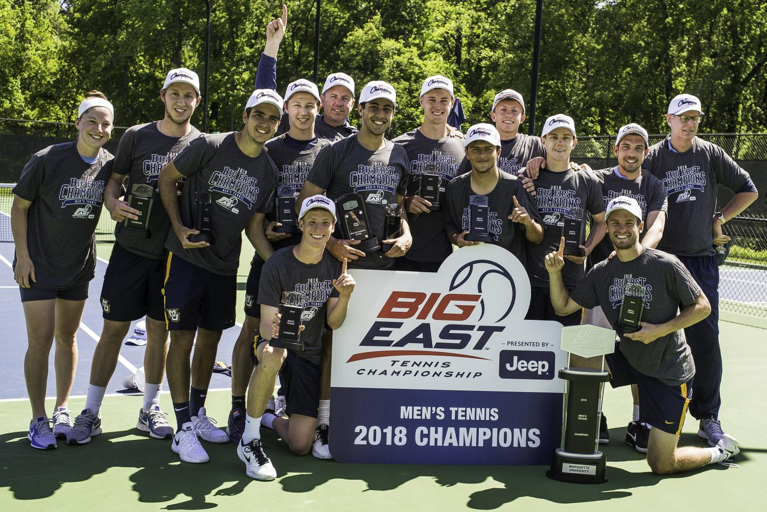 Marquette men's tennis triumphed over the DePaul Blue Demons in the finals of the BIG EAST Tournament. (Photo courtesy of Stephen B. Morton for the BIG EAST Conference.)