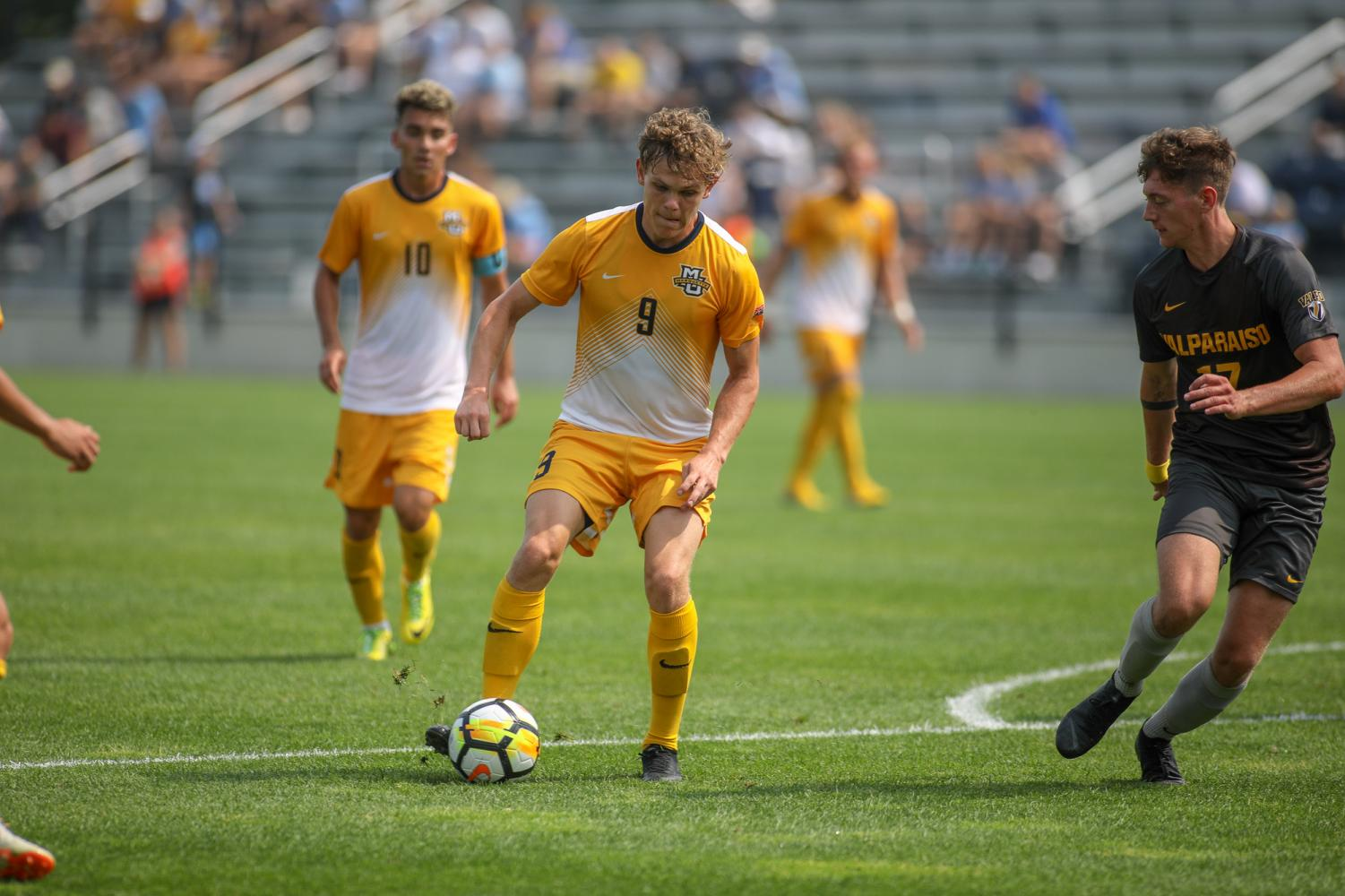 Lukas Sunneson scored a pair of goals in his Marquette debut Saturday afternoon. (Photo courtesy of Maggie Bean/Marquette Athletics)