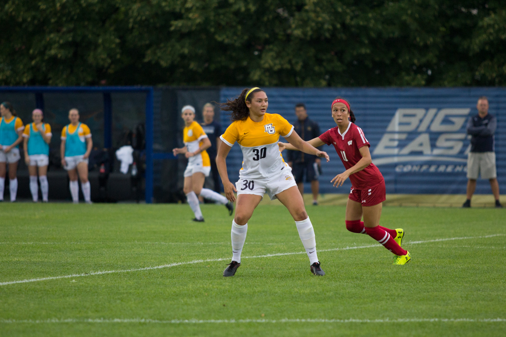 Ryley Bugay anticipates a pass in Marquette's loss to Wisconsin Aug. 20.
