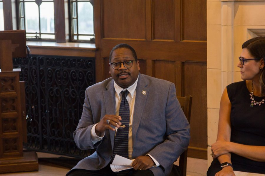 Dr. Xavier Cole discussed RISE, an orientation for multicultural and underrepresented students, at a press conference Aug. 22.