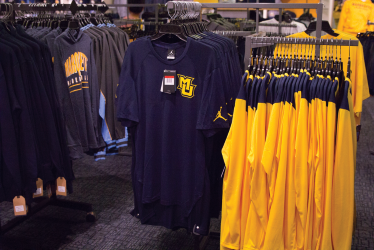 The spirit shop carries a variety of apparel with new gear made available every month, allowing students to rep clothing for every sport.