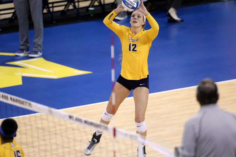 Madeline+Mosher+is+one+of+five+outside+hitters+on+the+2018+roster.+%28Photo+courtesy+of+Maggie+Bean%2FMarquette+Athletics%29