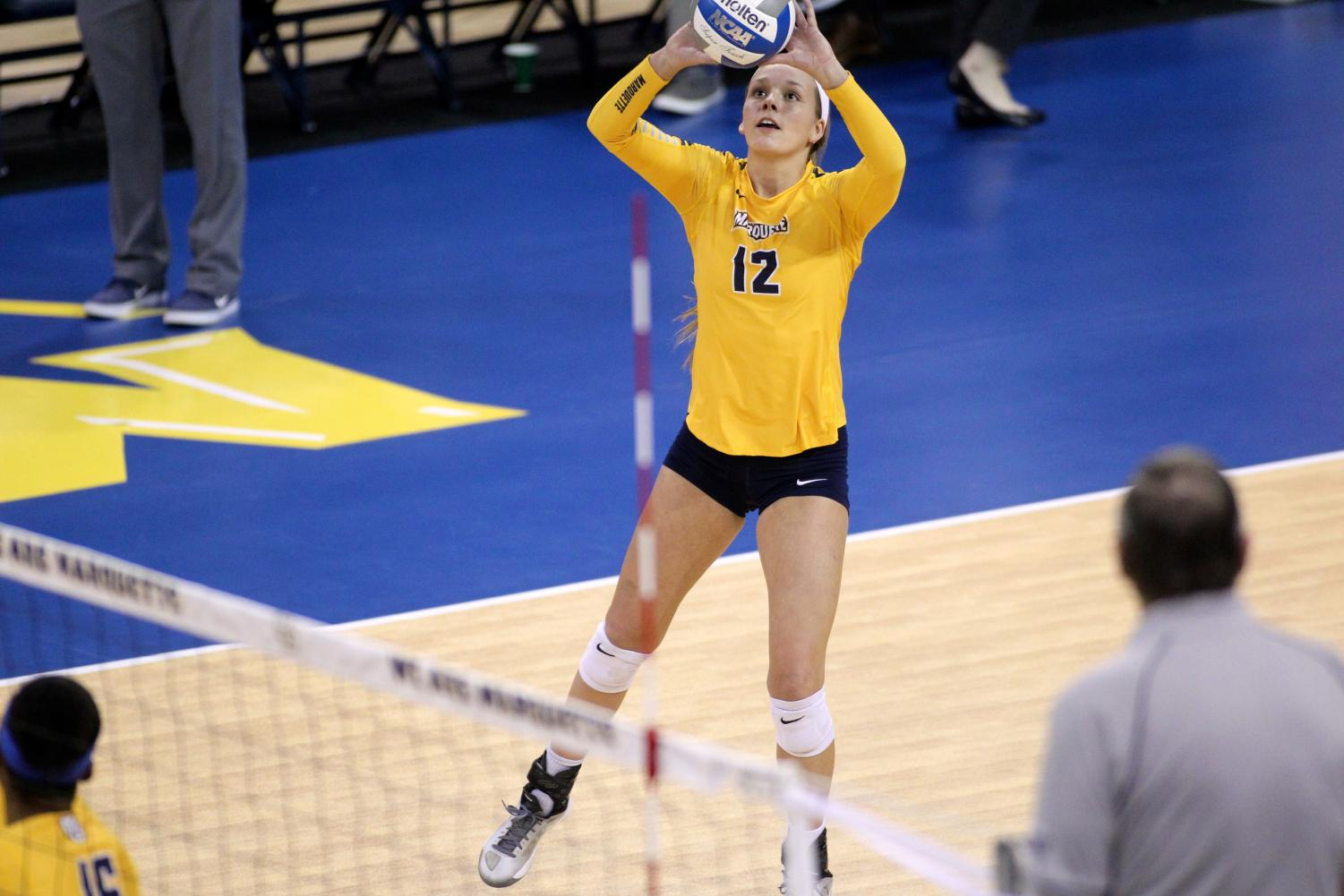 Madeline Mosher is one of five outside hitters on the 2018 roster. (Photo courtesy of Maggie Bean/Marquette Athletics)