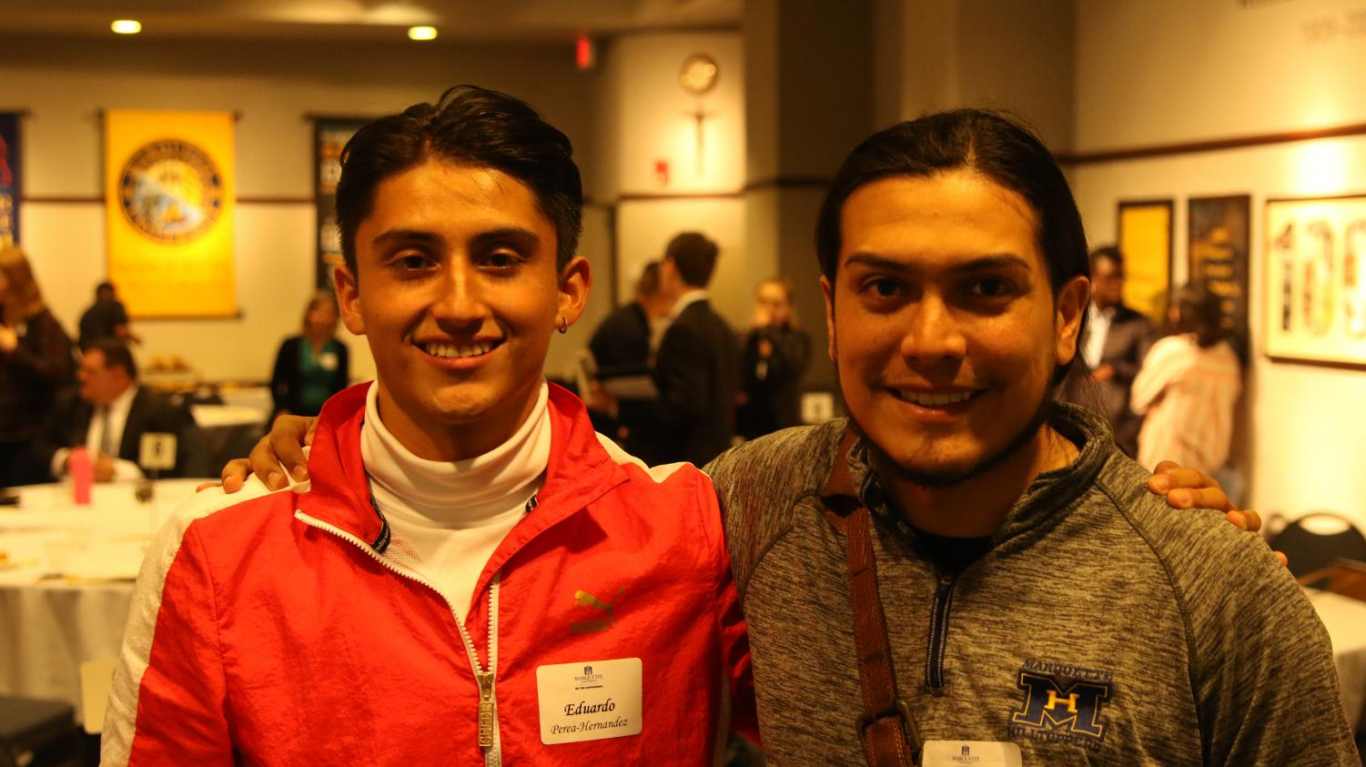Eduardo Perea-Hernandez (left) and Alan Chavoya moderated and led discussions at the event.