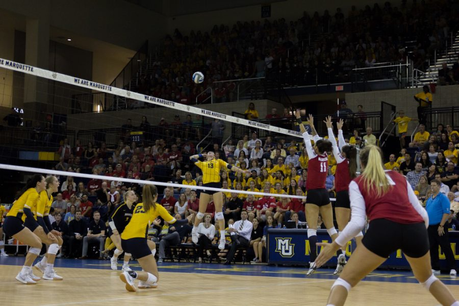 Senior+outside+hitter+Anna+Haak+goes+for+a+kill+against+No.+6+Wisconsin+Friday+night+at+the+Al+McGuire+Center.